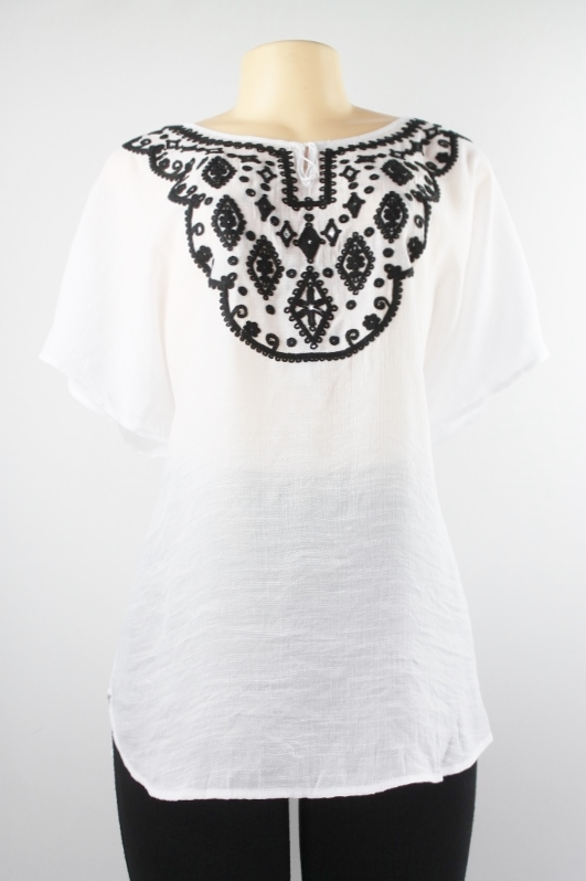 AGB Short Sleeve Embroidered Peasant Top White Black Size 1X