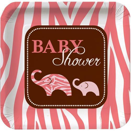 wild pink safari elephant paper dinner plates 8 ct baby girl shower