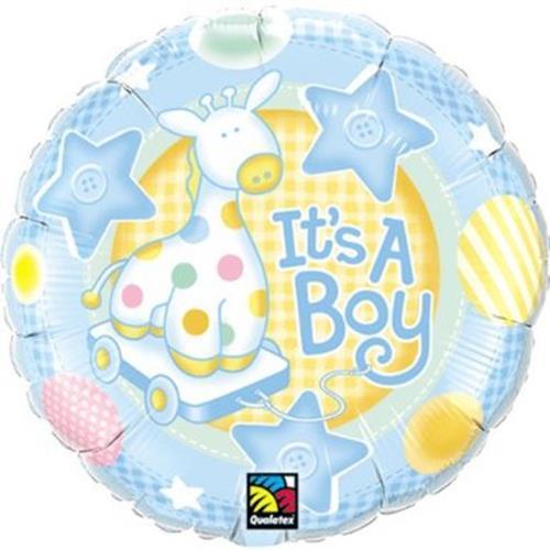 "Mylar Foil Balloon 18"" It's A Boy Baby Shower Gift Ideas Stars Circles Giraffe"