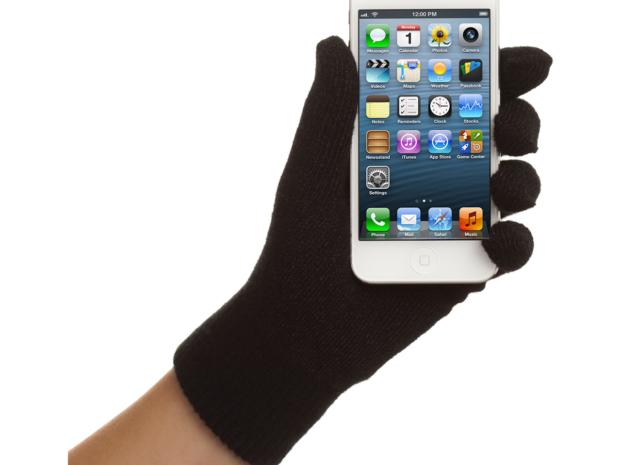 Black TapPinchZoom Touchscreen Gloves for Mobile & Tablet devices, small/medium