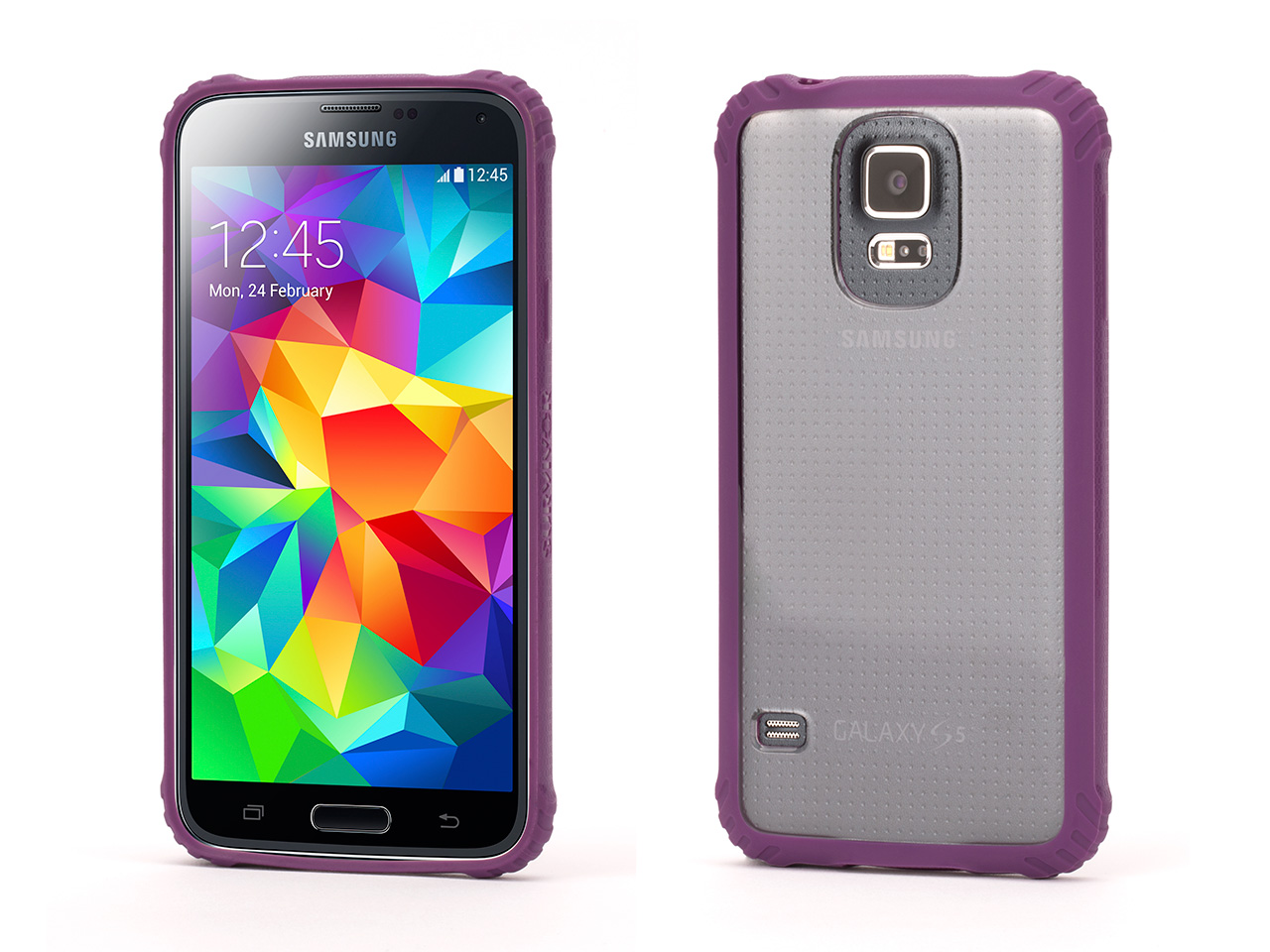 Survivor Core, Clear Protective Case with Purple Trim for Samsung Galaxy S5