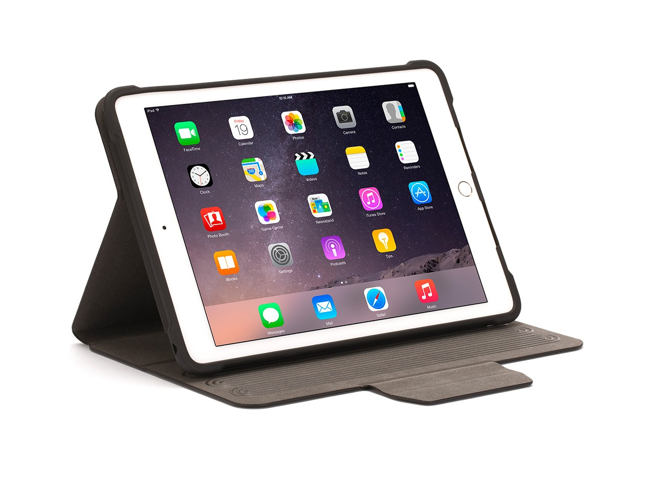This folio cover opens like a book and closes to protect, even if you drop it from 6 feet. Inside the cover, your iPad Air 2 is held in a protective frame that grips its edges, leaving the entire surface of your touchscreen accessible to your fingers.    The frame holding your iPad Air 2 is detachable for easy one-handed use. Inside the folio, it rotates a full 360 degrees, and clicks into landscape or portrait mode, then folds into a 4-position workstand. Magnetic closure allows for a stylus inside, next to your device.