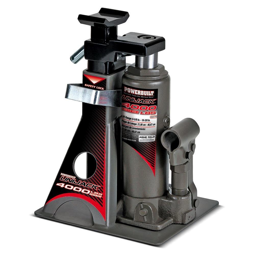 Light Jack Stand: Powerbuilt 4000Lb Wide Base Lift Unijack Bottle Jack