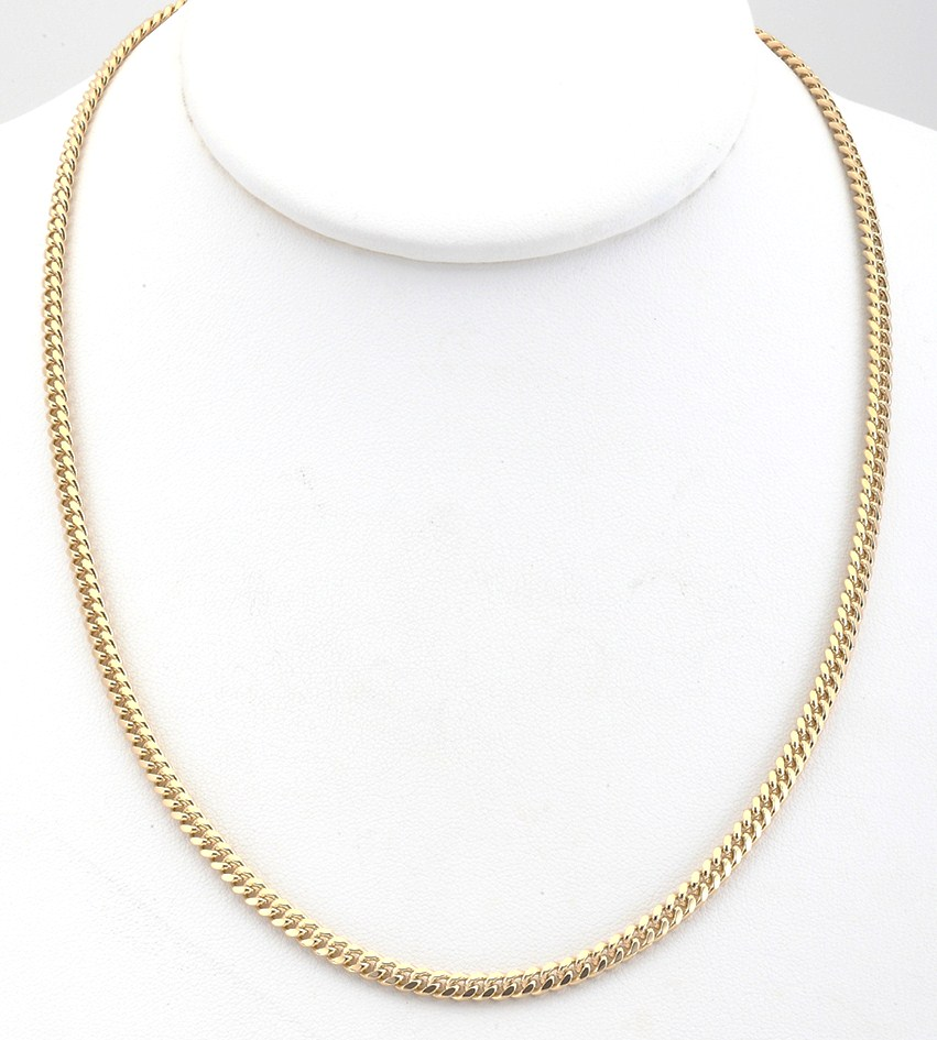 18k gold overlay cuban curb chain link necklace or
