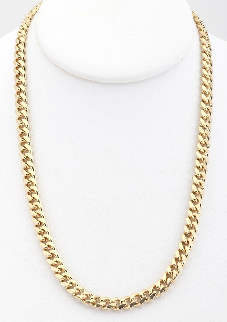 18k gold plated cuban curb chain link necklace 6mm