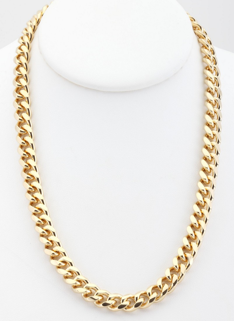 18k gold overlay curb cuban link chain necklace 9mm