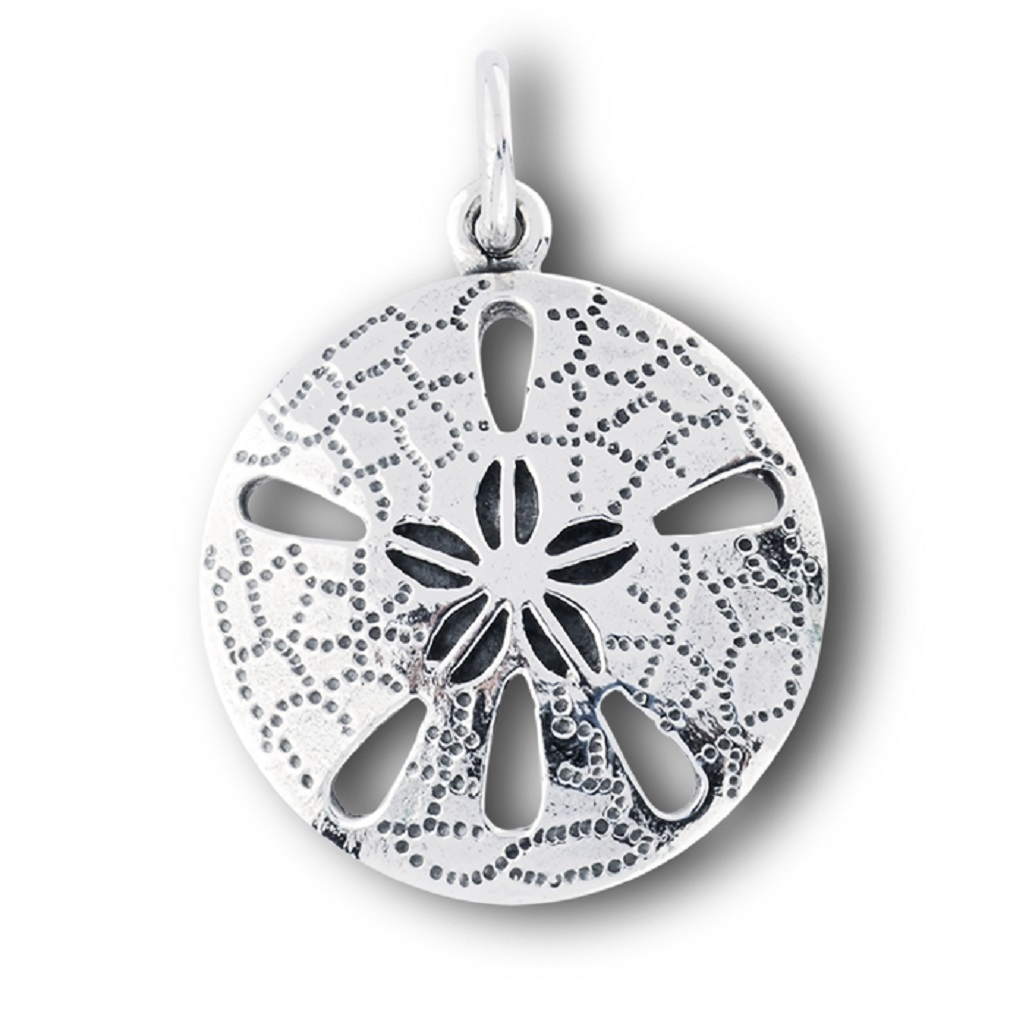 new 925 sterling silver sand dollar round pendant