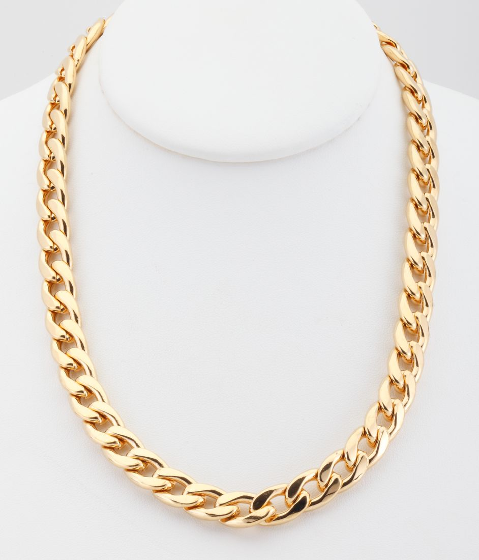18k gold plated cuban curb chain link necklace 11mm
