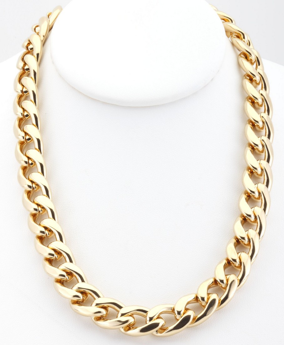 new gold plated cuban curb chain link necklace 13mm 18 quot 20