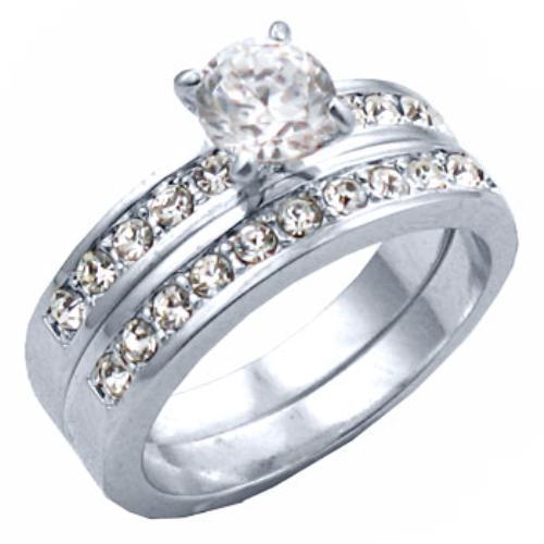 New Rhodium Overlay CZ Wedding Ring Set Sizes 4 11 EBay