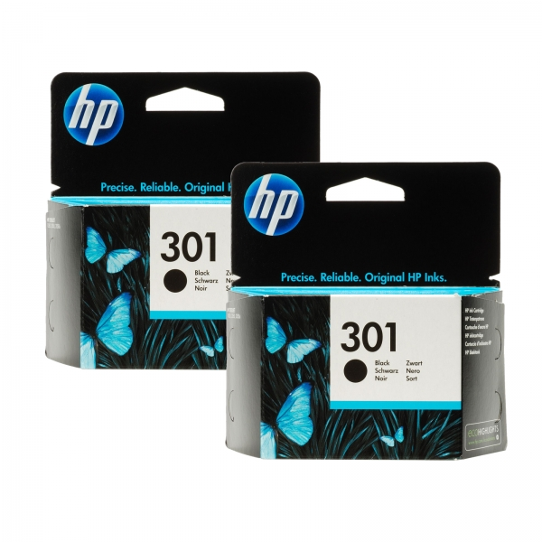 hp 301 ch561e original black ink cartridge x 2 twin pack ebay. Black Bedroom Furniture Sets. Home Design Ideas