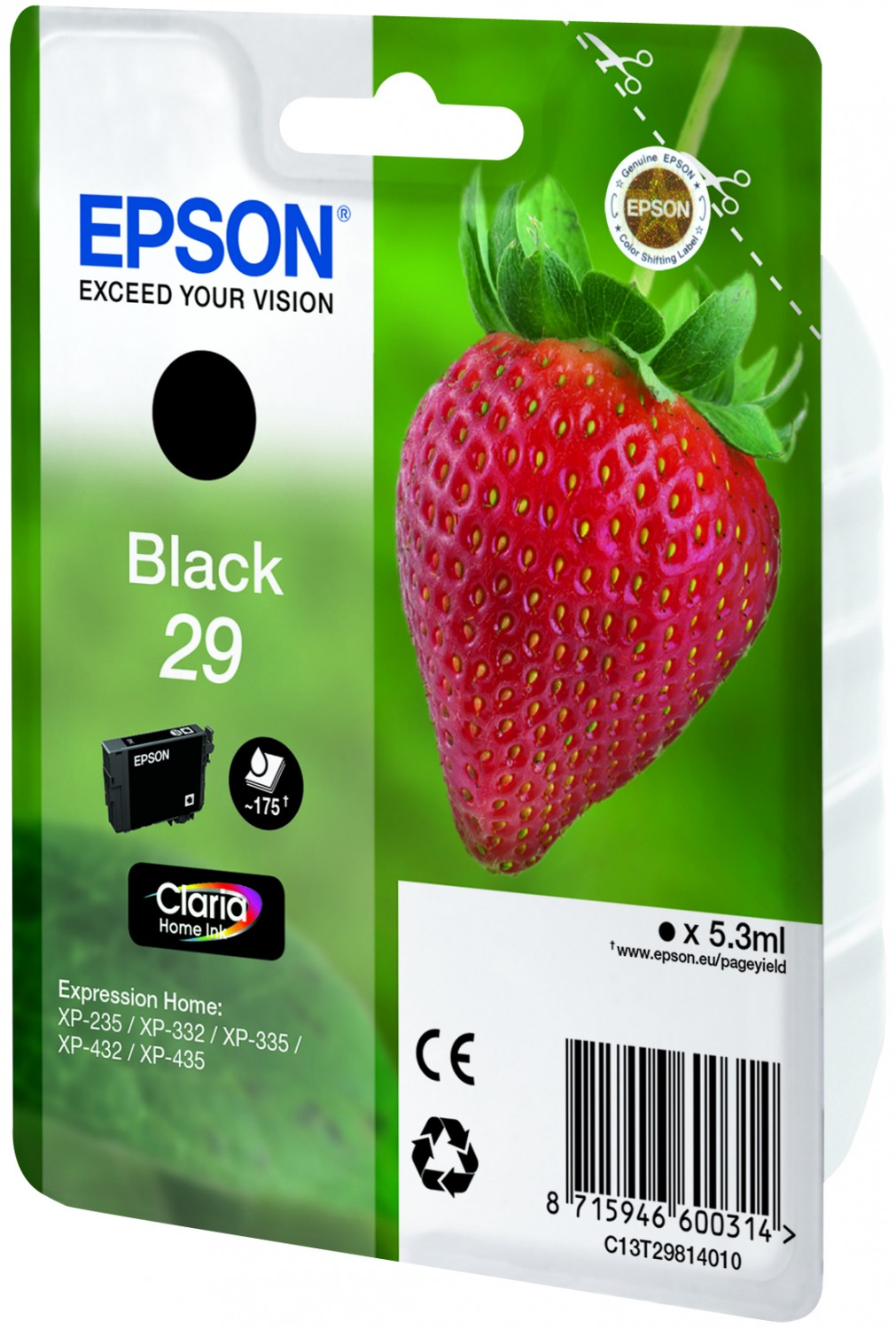 original genuine black ink cartridge for epson expression home xp 435 ebay. Black Bedroom Furniture Sets. Home Design Ideas