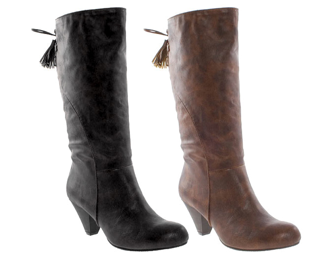 Barratts-Womens-Lace-Up-Back-Mid-Calf-Boots-Black-or-Tan