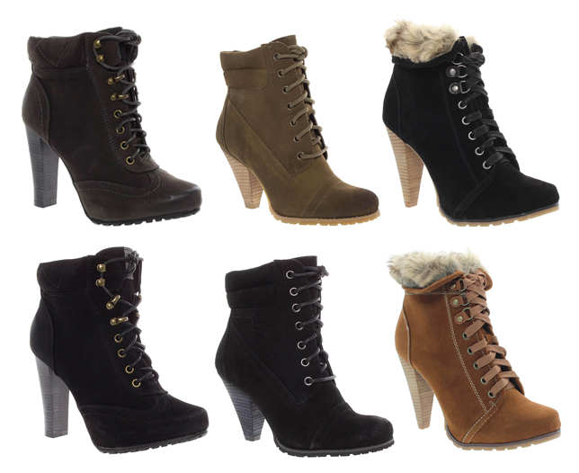 Womens-High-Heeled-Hiker-Style-Ankle-Boots-Various-Styles