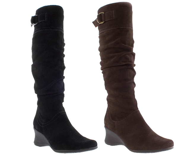 Barratts-Womens-Suede-Wedge-Heel-High-Leg-Boots-Black-or-Brown