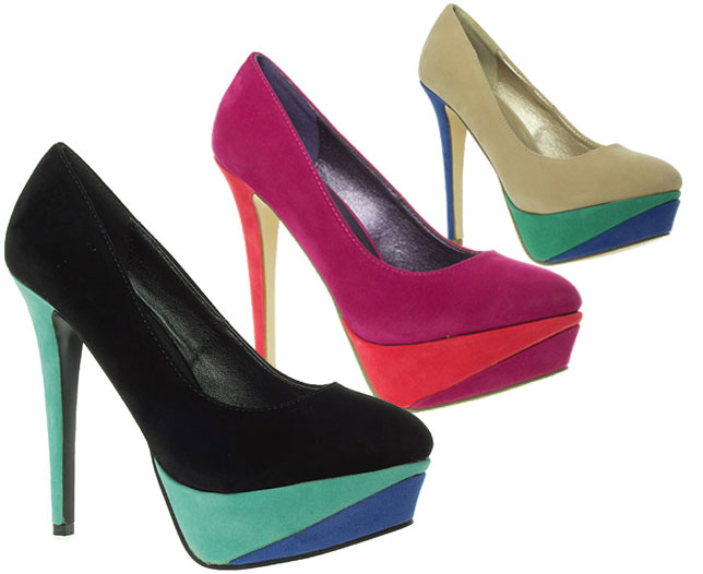Barratts-Womens-Tri-Tone-High-Heel-Platform-Court-Shoes-Black-Fuchsia-or-Nude