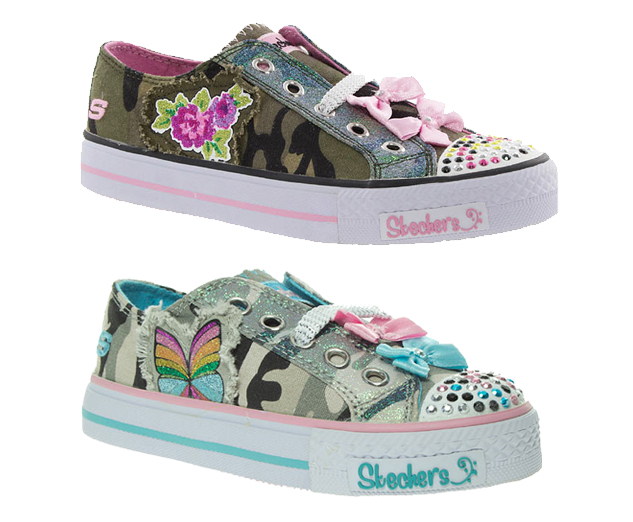 Skechers-Kids-Twinkle-Toes-Lace-Up-Canvas-Pumps-Grey-or-Khaki