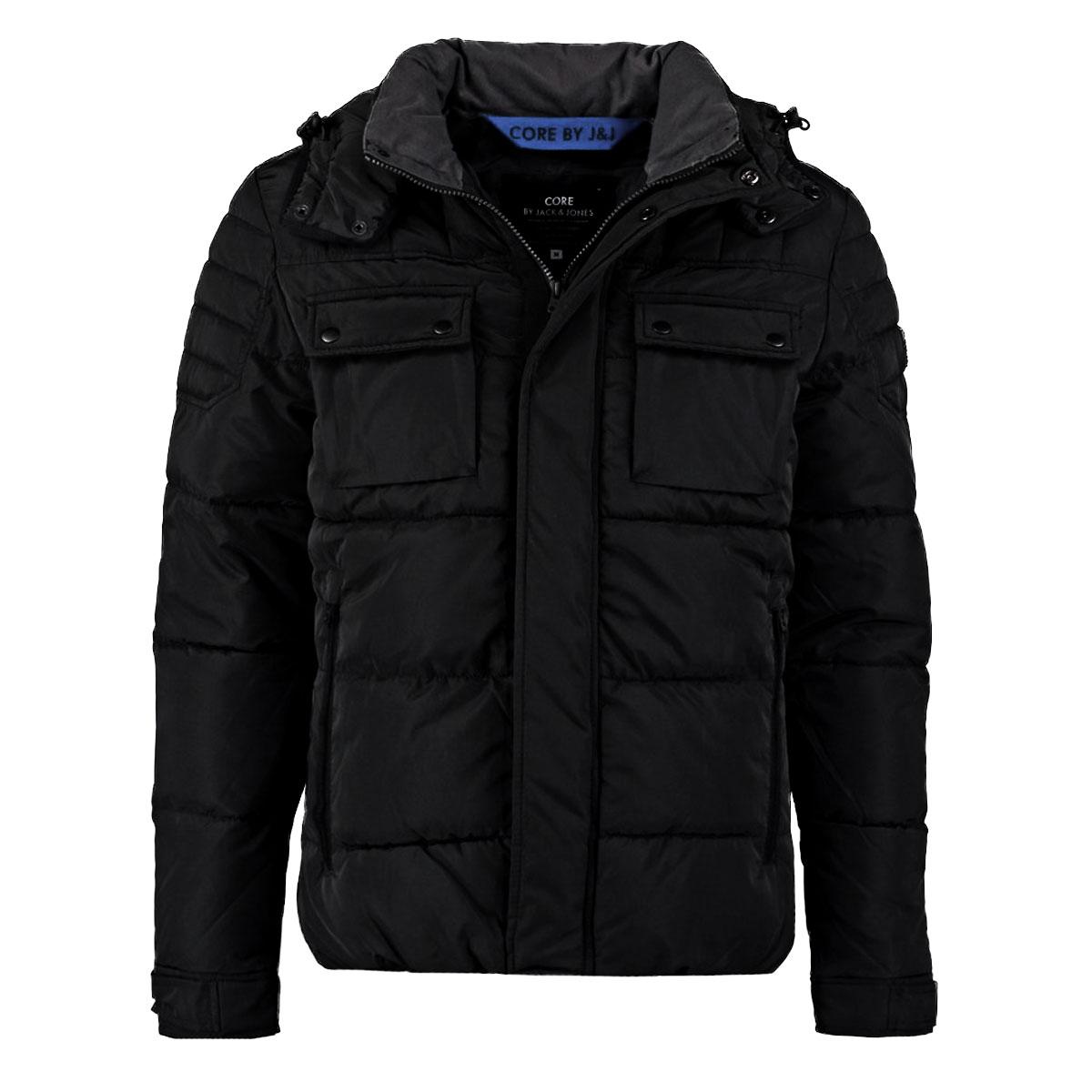Jack And Jones Mens Gary Puffer Jacket Coat Black S Xl