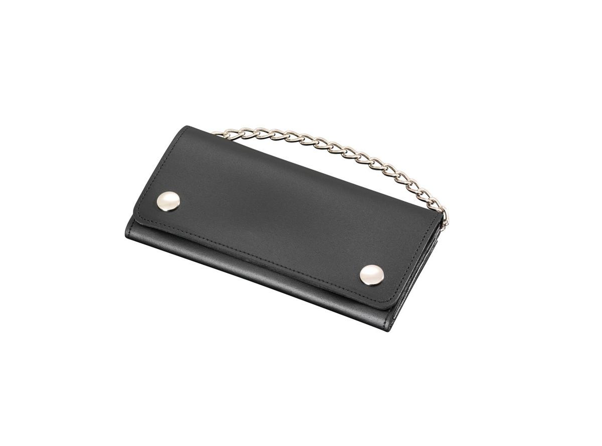 Portefeuille cuir noir avec chaine s curit porte monnaie - Chaine de securite pour porte ...