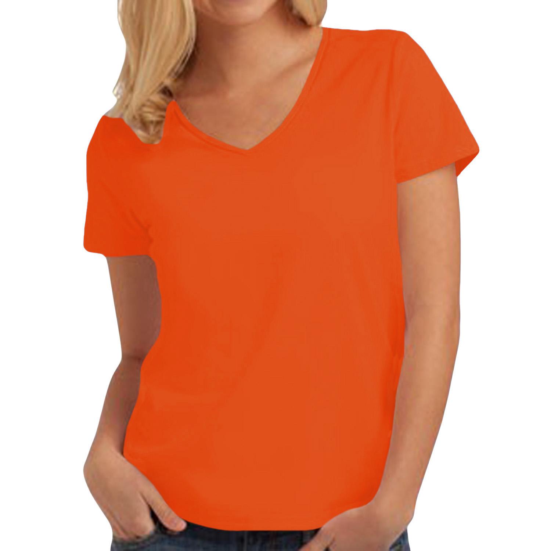 Hanes womens tasty v neck short sleeve tagless cotton for Best v neck t shirts