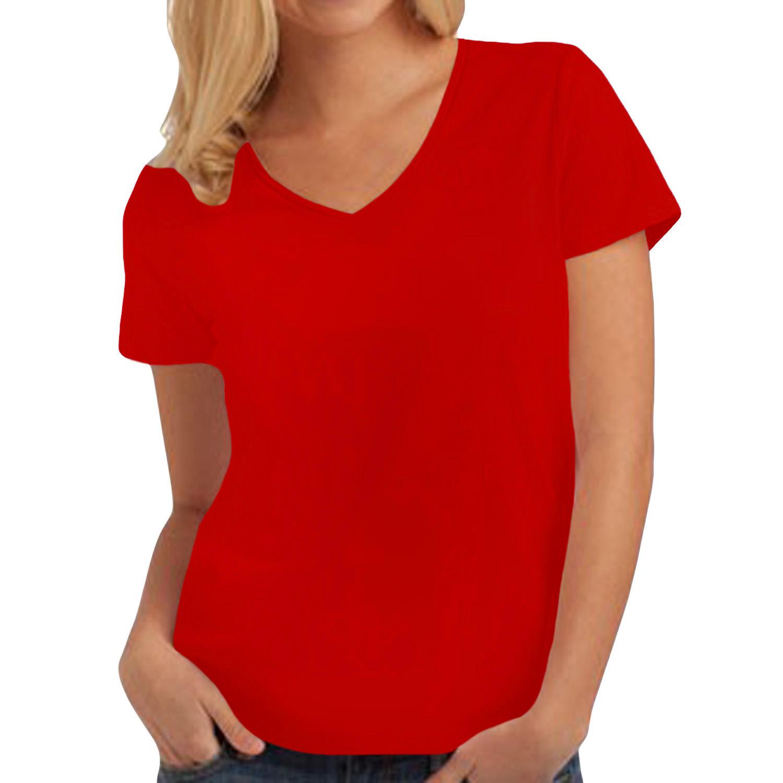 Hanes womens tasty v neck short sleeve tagless cotton for Womens v neck t shirts