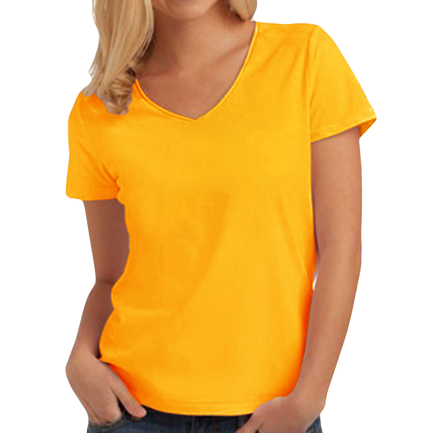 Hanes womens tasty v neck short sleeve tagless cotton for Women s broadcloth shirts