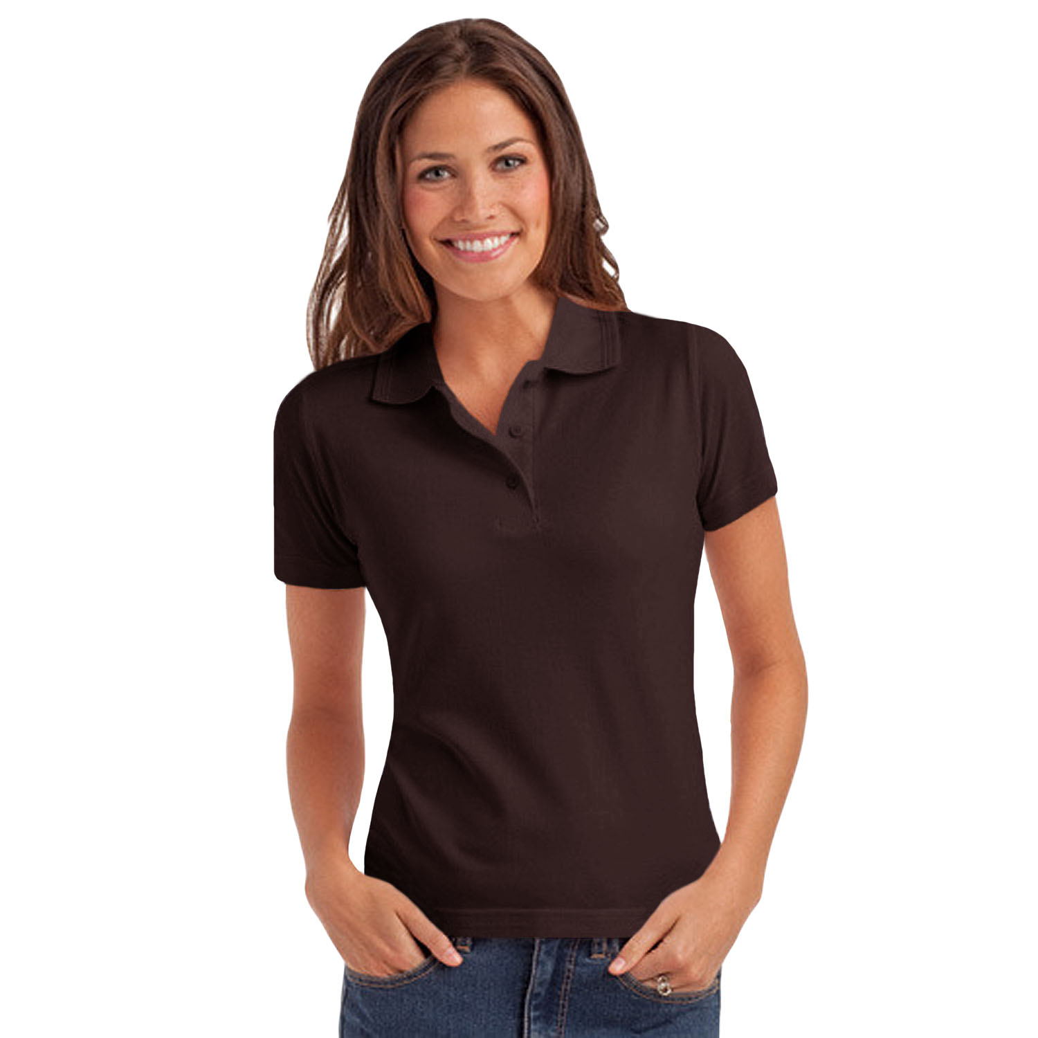 Hanes elegance womens ladies casual plain pique short for Woman s polo shirts