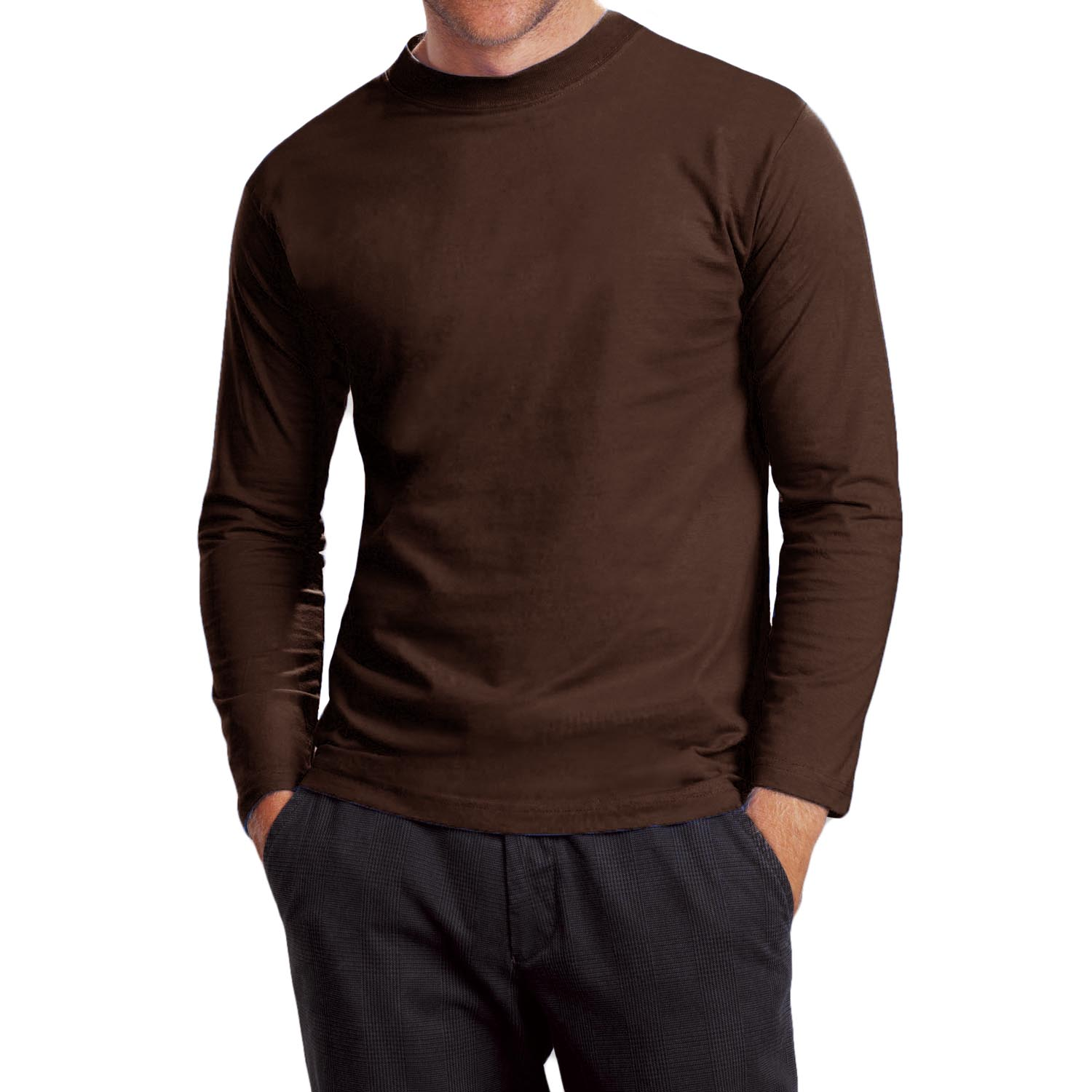 Mens Brown Long Sleeve T Shirt | Artee Shirt