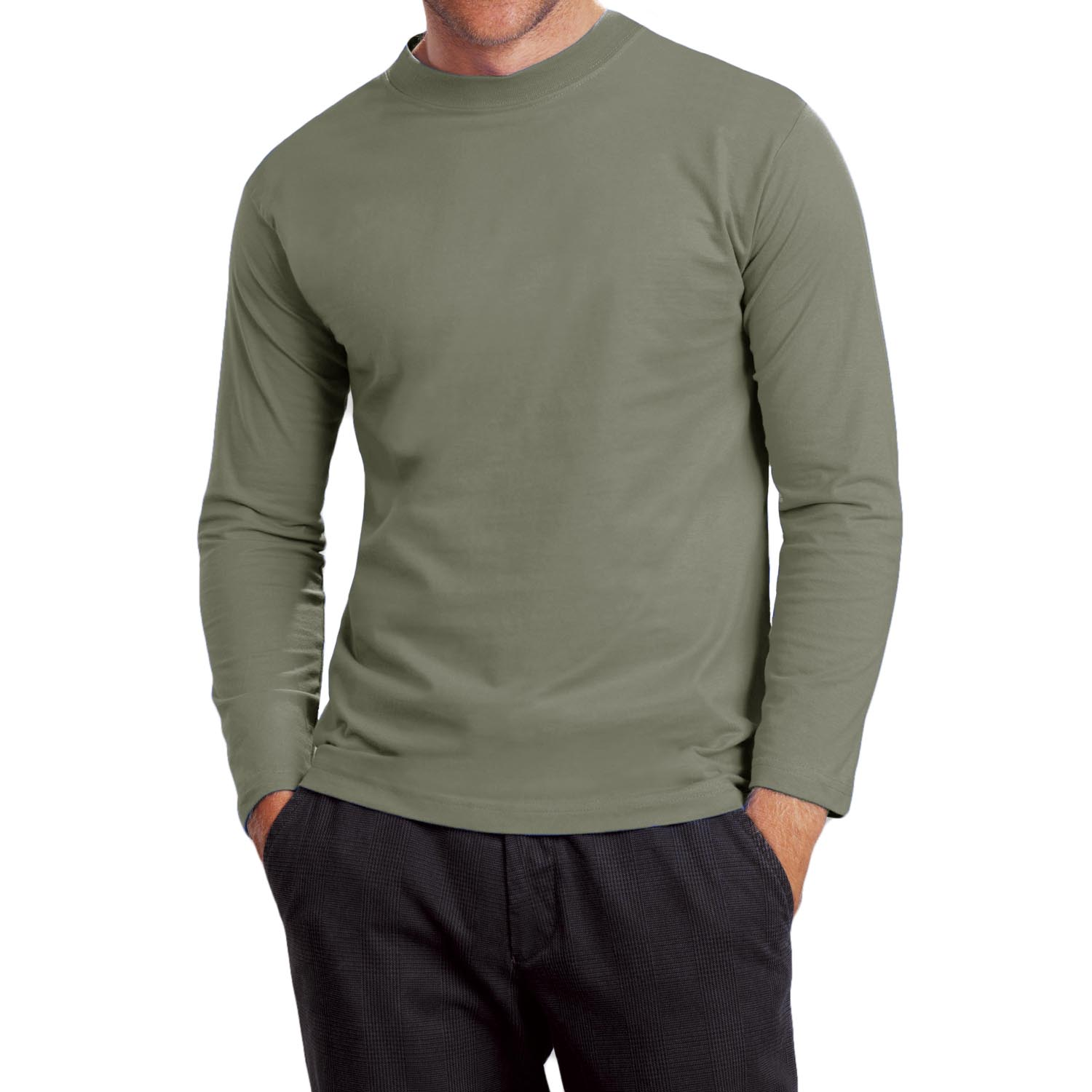 Hanes Heavy T Mens Cotton Crew Neck Long Sleeve T Shirt
