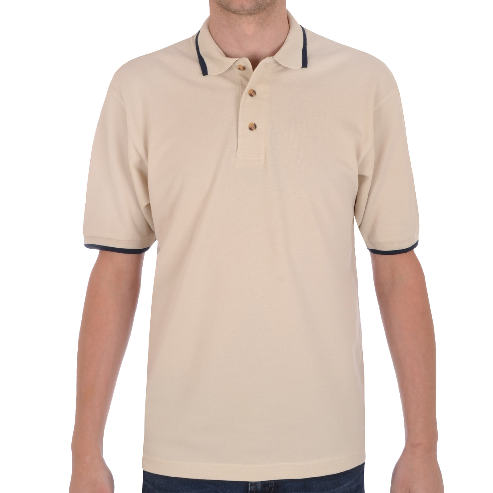 Hanes mens plain casual cotton short sleeve tipped polo for Mens casual polo shirts
