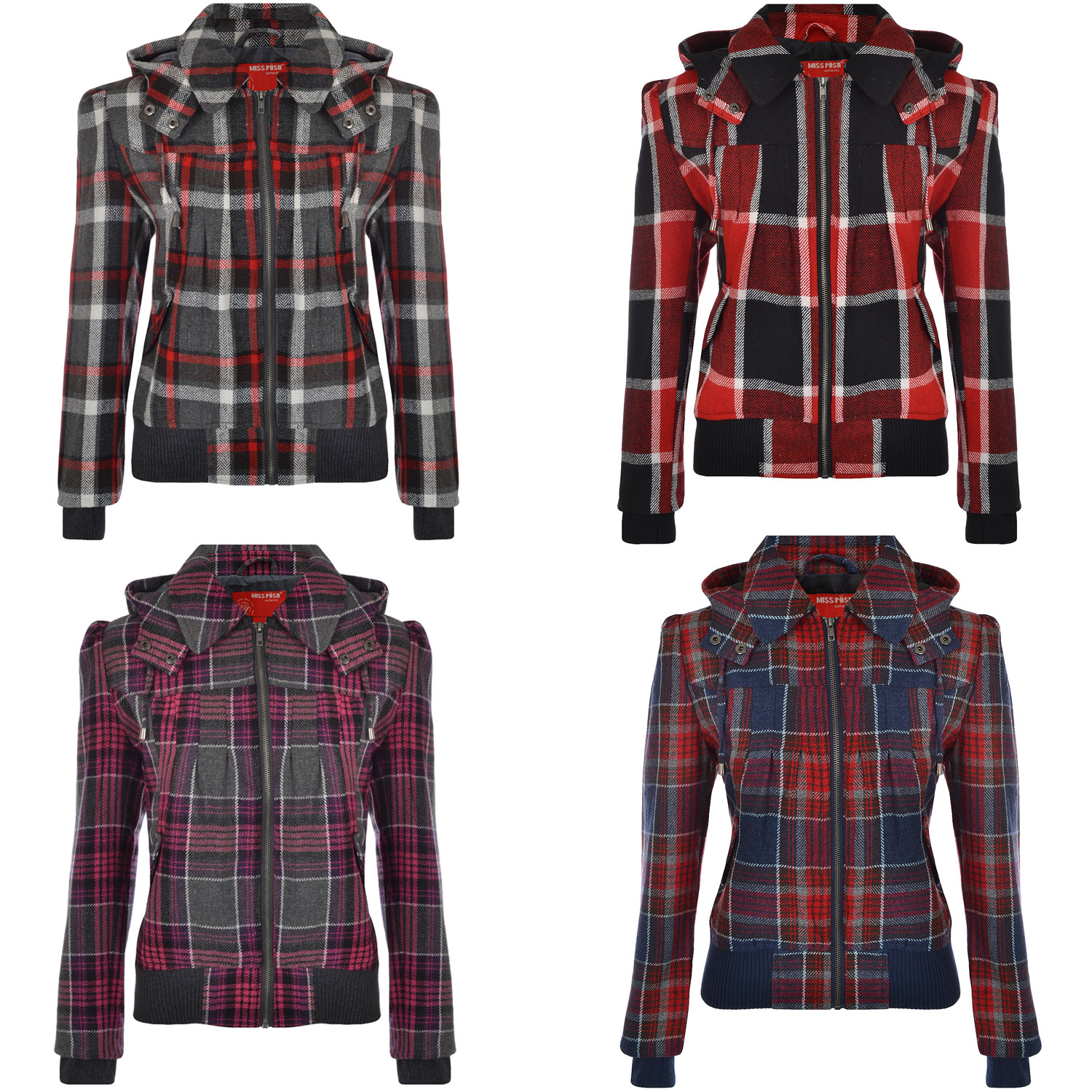 Miss-Posh-Womens-Lumberjack-Hooded-Full-Zip-Tartan-Check-Bomber-Jacket-Coat