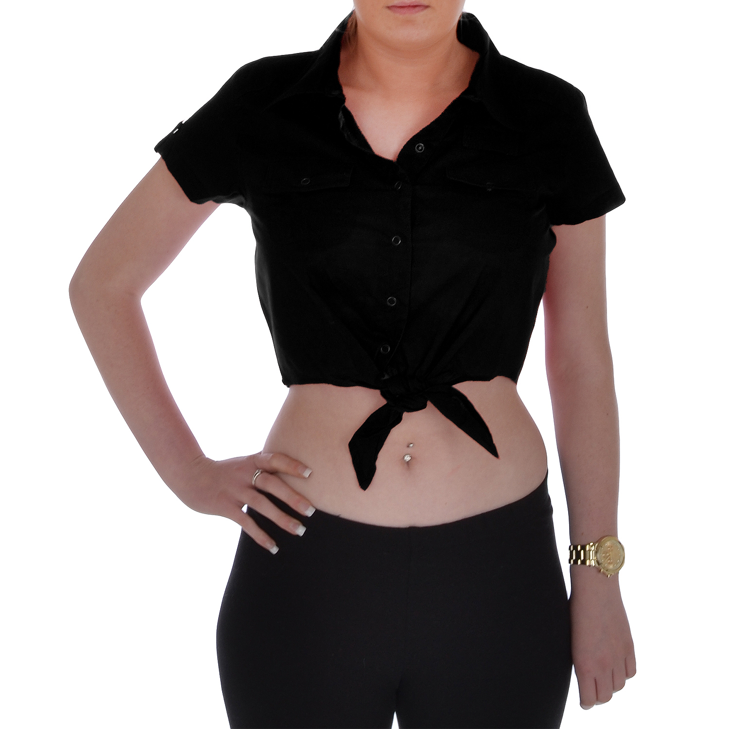 Miss-Posh-Womens-Short-Sleeve-Cropped-Popper-Buttoned-Tie-Front-Blouse-Shirt-Top