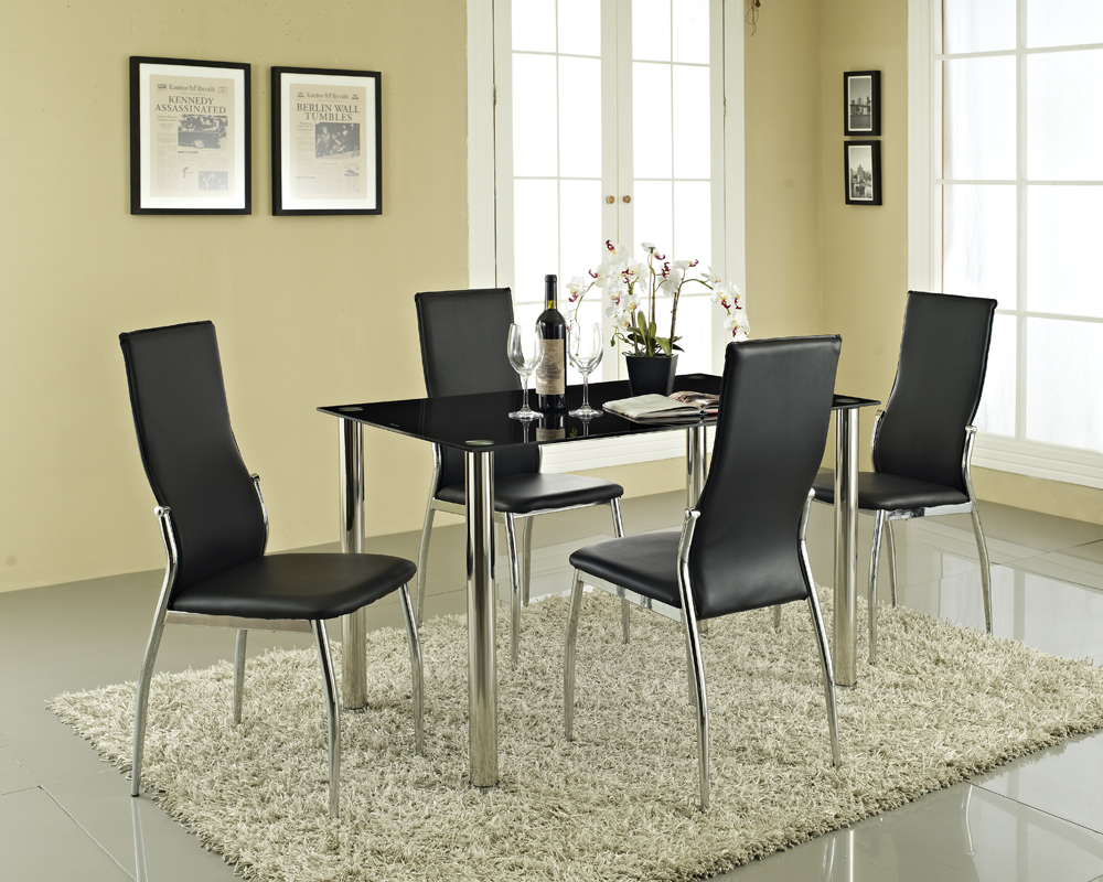 glass dining table 4 chairs sleek contemporary furniture set pvc