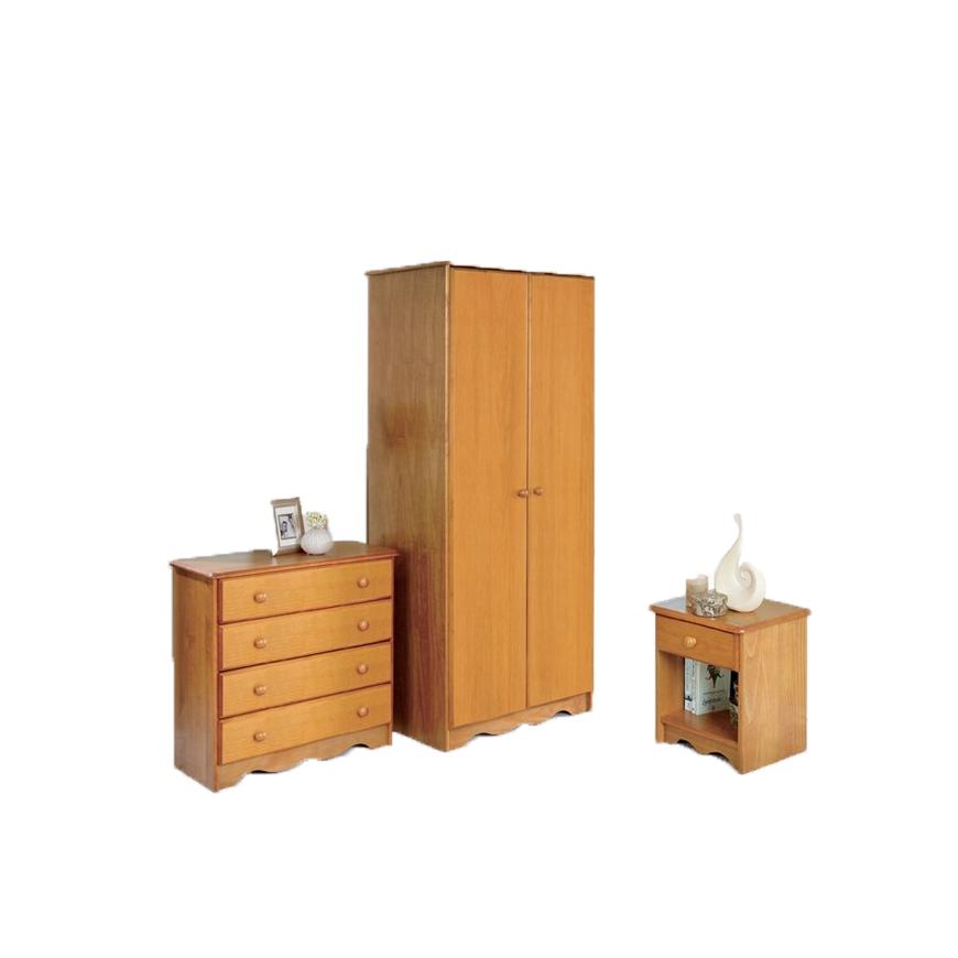 Pine 3 Piece Bedroom Set Wardrobe Chest Bedside Table Solid Pine Honey Ebay