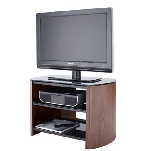 Finewoods small tv stand black glass shelves wood