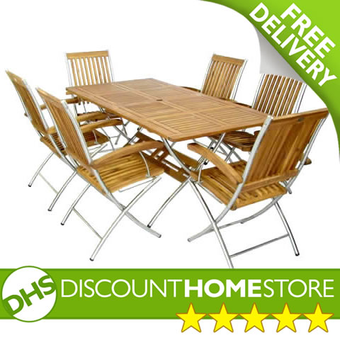 discount home store tuscany 6 seater garden folding table and