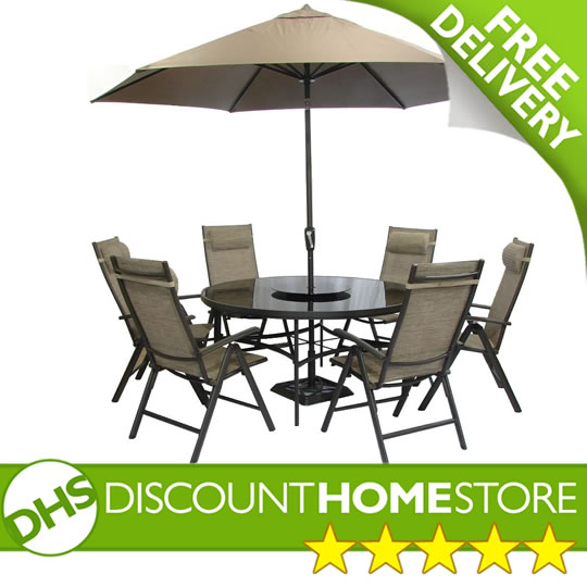 garden table and chairs set parasol round 6 seater glass table