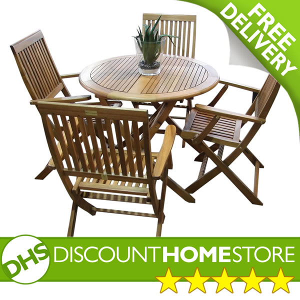 Orleans 4 Seater Folding Patio Table And Chairs Set