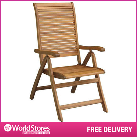Garden Reclining Chair Acacia Wooden - Slatted Outdoor Furniture Al Fresco enlarged preview