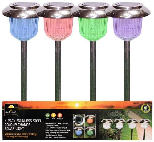 4 X Colour Changing Solar Lights Garden Lamps With Rechargeable Batteries Ebay