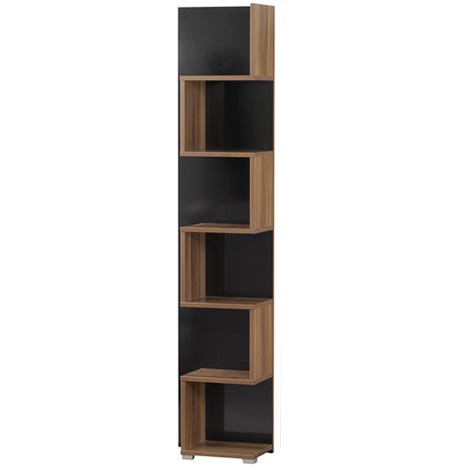 Mexico Storage Unit - 5 Shelves Contemporary Design - Black/Walnut enlarged preview
