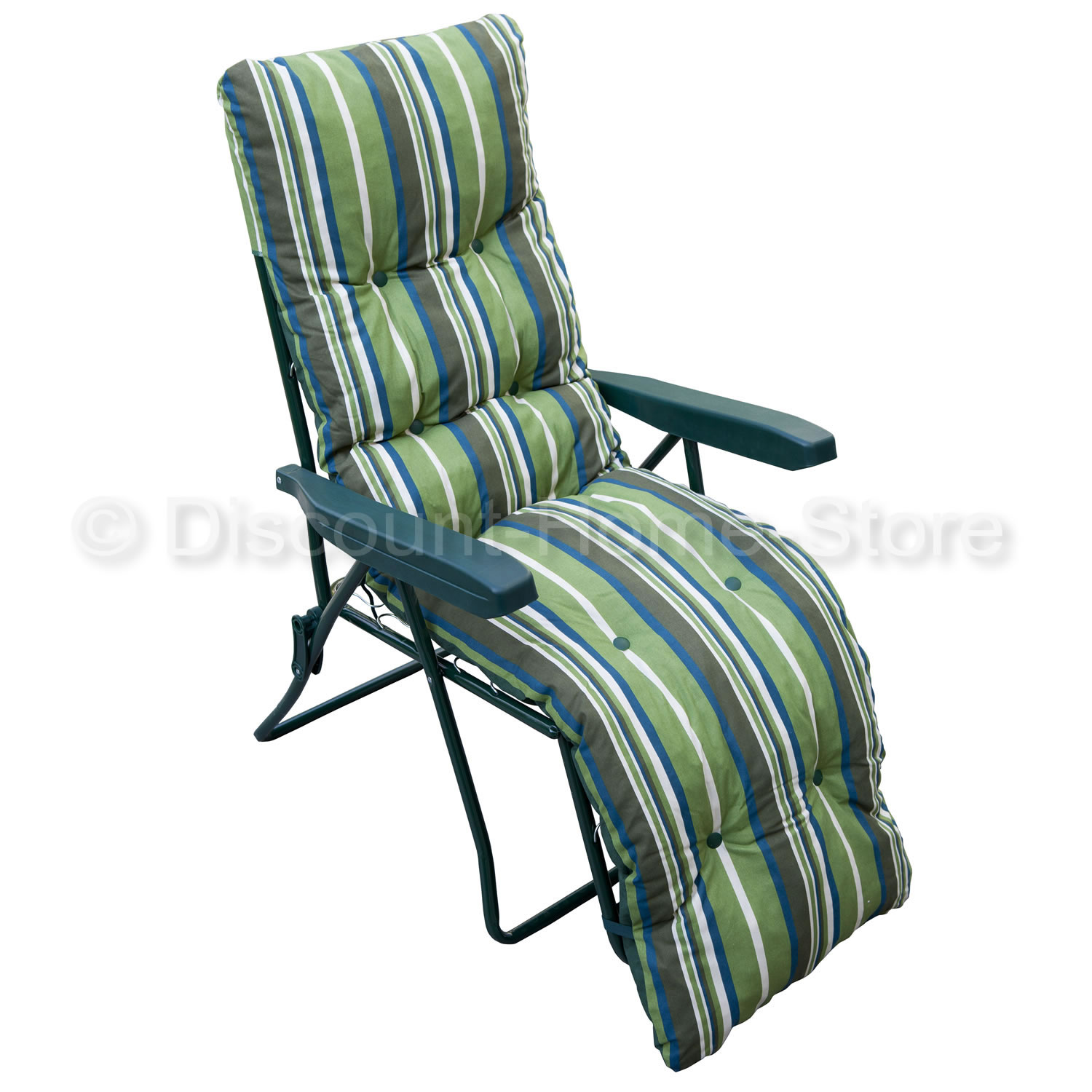 Garden Relaxer Reclining Sun Lounger - Green Stripe Padded Outdoor Chair - Green enlarged preview