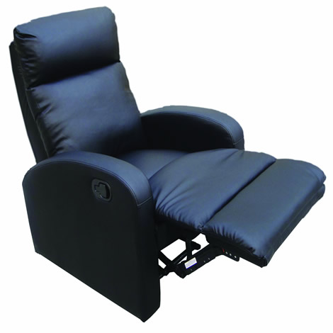 Obi Reclining Armchair - Ergonomic Padded Recliner - Seamless Mechanism - Black enlarged preview