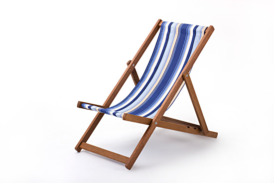 Cotton Deckchair Folding Chair Seat Beach Seaside Portable Deck Chair Wooden