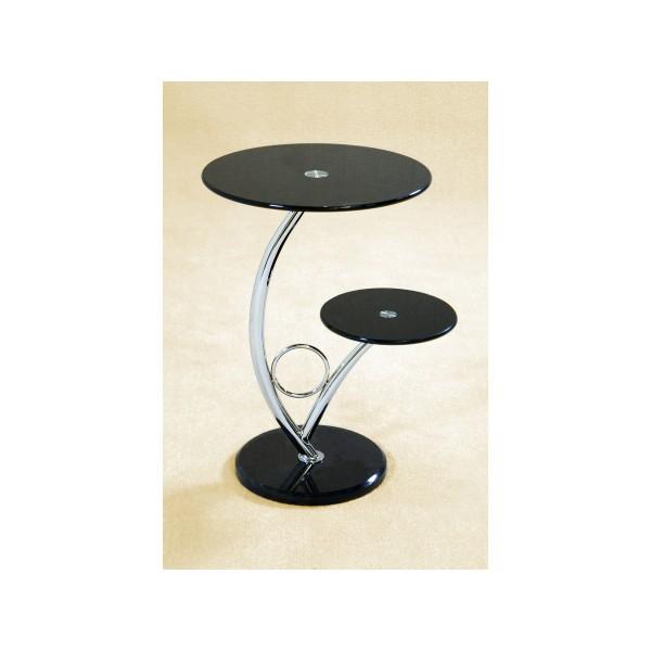 Chrome X Frame Coffee Table: 2x Black Glass Side Coffee Table