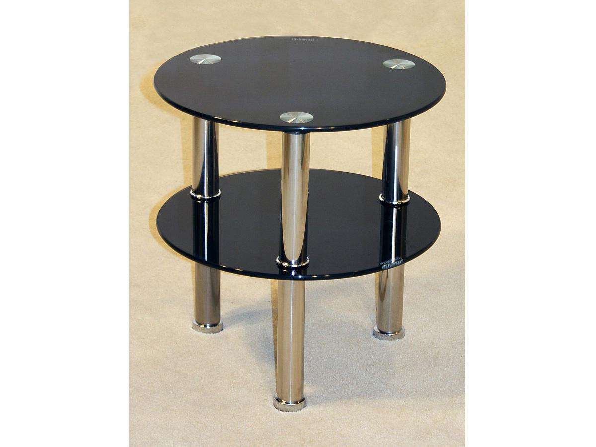 black or clear glass round side table   tier shelf unit  chrome  - blackorclearglassroundsidetable
