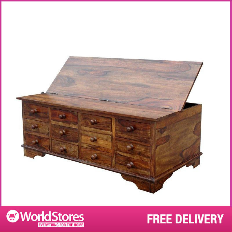 Large wooden storage chest sheesham cube design 12 for Large coffee table with drawers