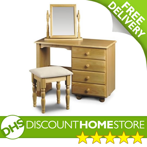 Dressing Table Pickwick Single Pedestal In Solid Pine Bedroom Desk and Drawers enlarged preview
