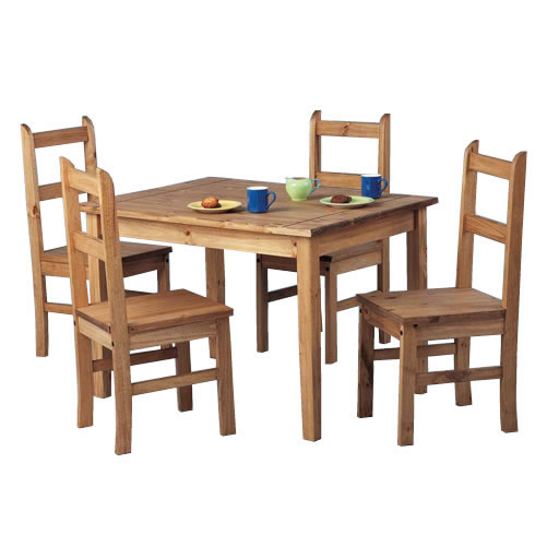Small dining table and chairs set mexican wood waxed for Small 4 seater dining table