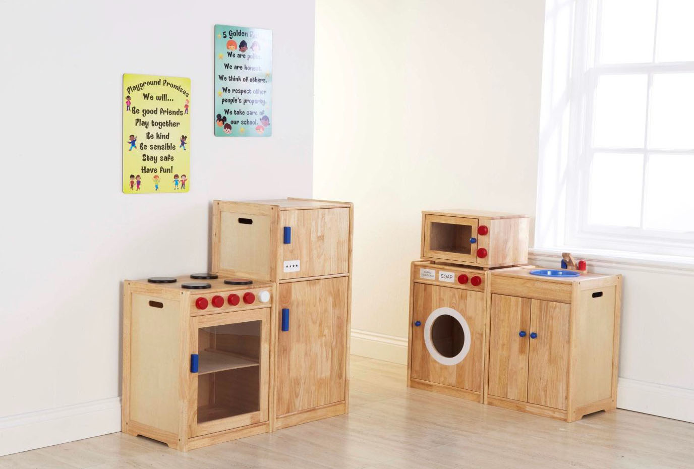 Solid rubberwood childrens toy kitchen complete set mini for Entire kitchen set